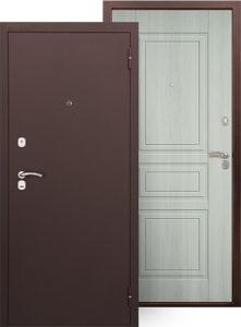 дверь с покраской «Антик медь», внутренняя отделка - ФЛ панель «Гаральд», цвет «Ларче светлый»
