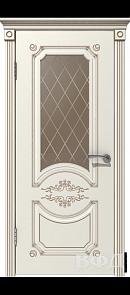 Межкомнатная дверь Милана ДО, эмаль слоновая кость/патина капучино, стекло бронза