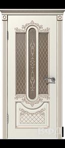 Межкомнатная дверь Александрия ДО, эмаль слоновая кость/патина капучино, стекло бронза