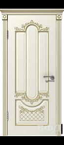 Межкомнатная дверь Александрия ДГ, эмаль слоновая кость/патина золото