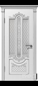 Межкомнатная дверь Александрия ДО, белая эмаль/патина серебро, стекло белое