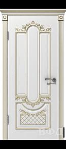 Межкомнатная дверь Александрия ДГ, белая эмаль/патина золото