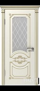 Межкомнатная дверь Милана ДО, эмаль слоновая кость/патина золото, стекло белое