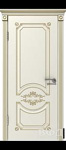 Межкомнатная дверь Милана ДГ, эмаль слоновая кость/патина золото