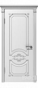 Межкомнатная дверь Милана ДГ, белая эмаль/патина серебро