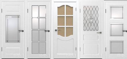 Белые двери межкомнатные ВФД, окрашенные эмалью.