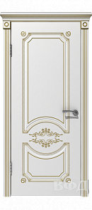 Межкомнатная дверь Милана ДГ, белая эмаль/патина золото