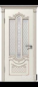 Межкомнатная дверь Александрия ДО, эмаль слоновая кость/патина капучино, стекло белое