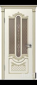 Межкомнатная дверь Александрия ДО, эмаль слоновая кость/патина золото, стекло бронза