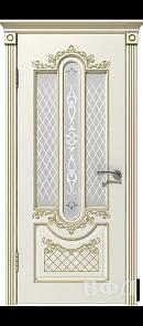 Межкомнатная дверь Александрия ДО, эмаль слоновая кость/патина золото, стекло белое