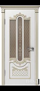 Межкомнатная дверь Александрия ДО, белая эмаль/патина золото, стекло бронза
