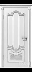 Межкомнатная дверь Александрия ДГ, белая эмаль/патина серебро