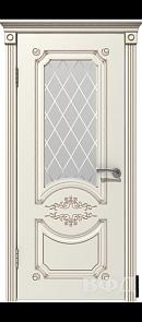 Межкомнатная дверь Милана ДО, эмаль слоновая кость/патина капучино, стекло белое