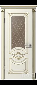Межкомнатная дверь Милана ДО, эмаль слоновая кость/патина золото, стекло бронза