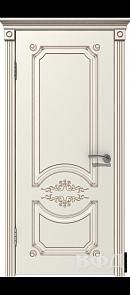 Межкомнатная дверь Милана ДГ, эмаль слоновая кость/патина капучино