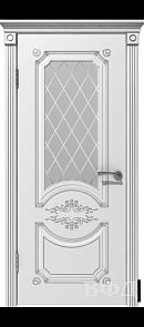 Межкомнатная дверь Милана ДО, белая эмаль/патина серебро, стекло белое
