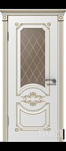 Межкомнатная дверь Милана ДО, белая эмаль/патина золото, стекло бронза